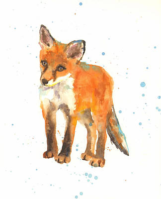 Fox Art Painting - Curious Kit by Alison Fennell