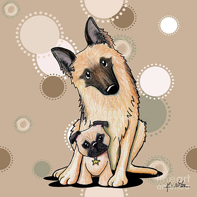 Curious Latte Dots Duo Art Print by Kim Niles