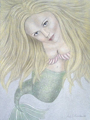 Curious Mermaid - Graphite And Colored Pastel Chalk Art Print by Nicole I Hamilton