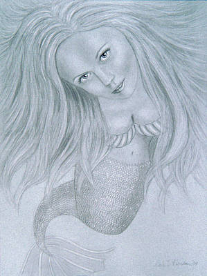 Curious Mermaid - Graphite And White Pastel Chalk Art Print by Nicole I Hamilton