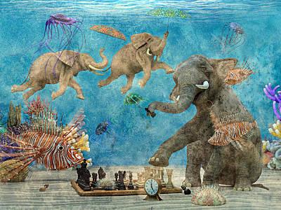 Umbrellas Digital Art - Curious Ocean Textured by Betsy Knapp