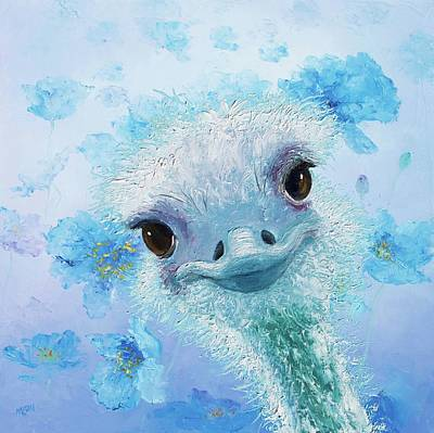 Emu Painting - Curious Ostrich by Jan Matson