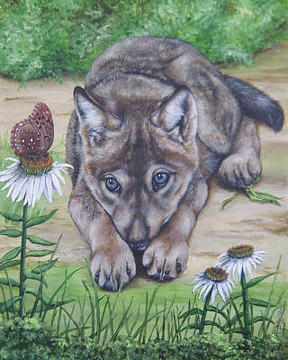 Wolf Pup Painting - Curious Pup by Christine StPierre