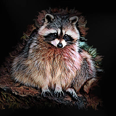 Digital Art - Curious Raccoon by Artful Oasis