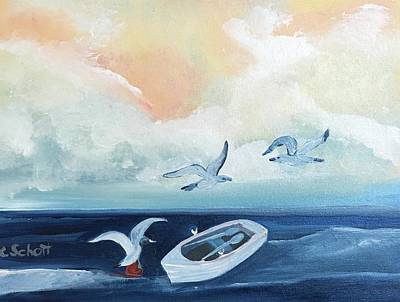 Painting - Curious Seagulls by Christina Schott