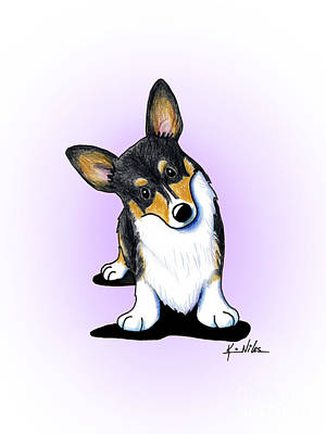 Curious Tricolor Corgi Art Print by Kim Niles