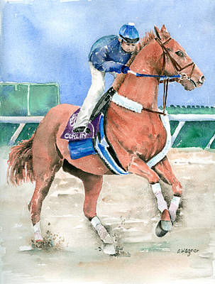 Horserace Painting - Curlin by Arline Wagner