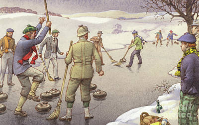 Winter Sports Painting - Curling In Scotland by Pat Nicolle