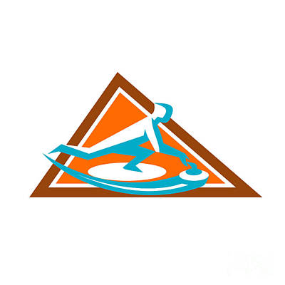 Curling Player Sliding Stone Triangle Icon Art Print