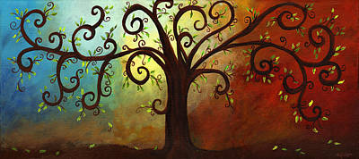 Curly Branches Tree Art Print by Elaine Hodges