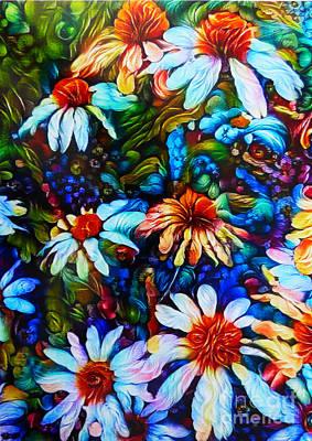 Curly Coneflowers Art Print
