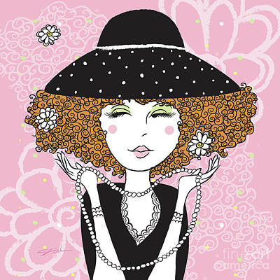 Digital Art - Curly Girl In Polka Dots by Shari Warren