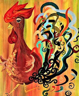 Silly Painting - Curly Rooster by Eloise Schneider