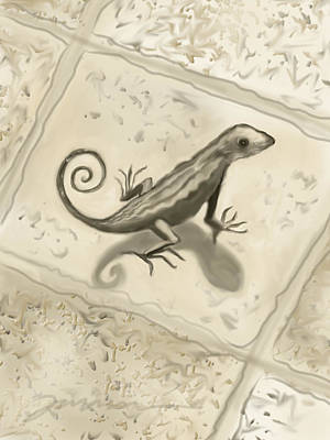 Digital Art - Curly Tail Lizard by Jean Pacheco Ravinski