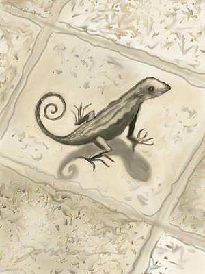 Digital Art - Curly Tail Lizard by Jean Pacheco Ravinski