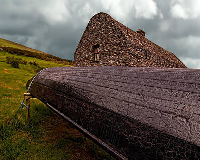 Currach Photograph - Currach And Stone House by Mitch Spence