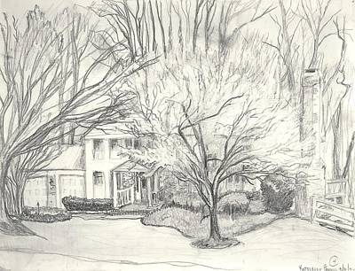 Wall Art - Drawing - Curran House by Katherine Farrell