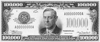 Currency: 100,000 Dollar Bill Art Print by Granger