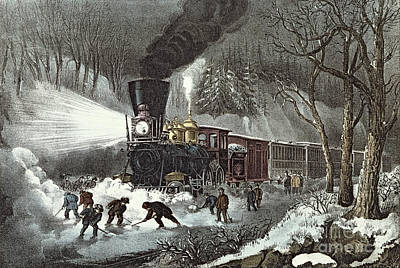 Snow Scene Painting - Currier And Ives by American Railroad Scene