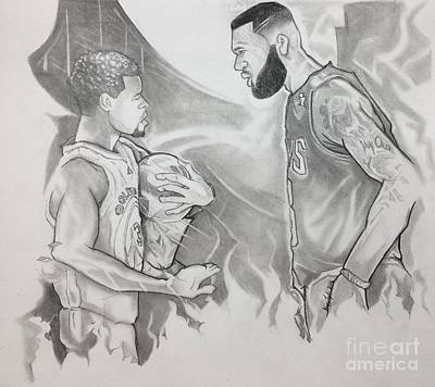 Lebron James Drawing - Curry Vs James - Nba Finals by Gregory Taylor