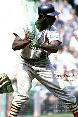 Curt Flood, St. Louis Cardinals Center Fielder Original by Thomas Pollart