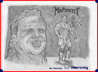 Drawing - Curt Hennig- Mr Perfect by Chris  DelVecchio