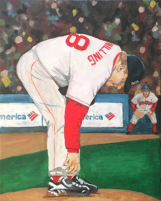 Red Sox Baseball Painting - Curt Schilling And The Bloody Sock by Cailin Koy