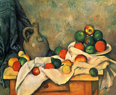 Painting - Curtain, Jug And Fruit by Paul Cezanne