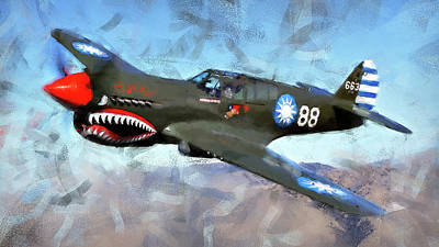 Painting - Curtis P-40 - 01 by Andrea Mazzocchetti