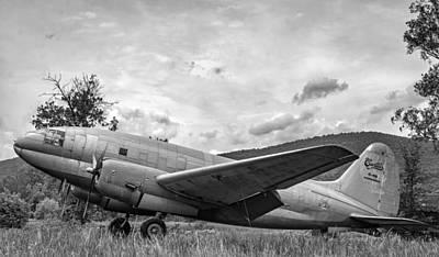 Condor Photograph - Curtiss C-46 Commando - Bw by Steve Harrington
