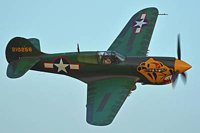 Print featuring the photograph Curtiss P-40k Warhawk N401wh Chino California April 29 2016 by Brian Lockett