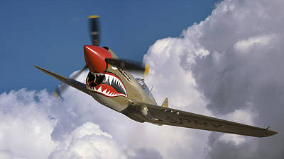 Vintage Stamps - Curtiss P-40N Warhawk Flying Tigers by Larry McManus