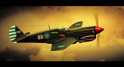 Digital Art - Curtiss P40 C Warhawk by John Wills