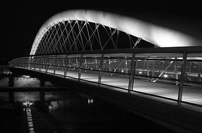 Cracow Photograph - Curved Footbridge B/w by John Janicki