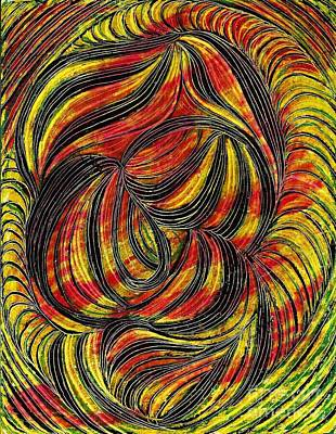 Red Line Drawing - Curved Lines 2 by Sarah Loft
