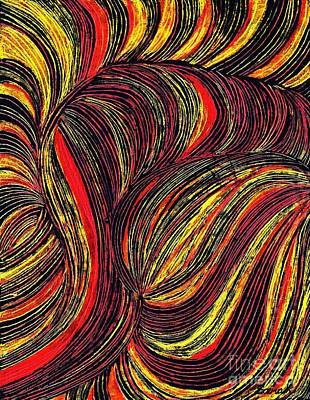 Oil Pastel Drawing - Curved Lines 3 by Sarah Loft