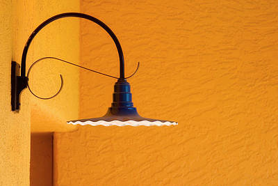 Photograph - Curved Outdoor Light Bright Yellow Wall by Carol Leigh