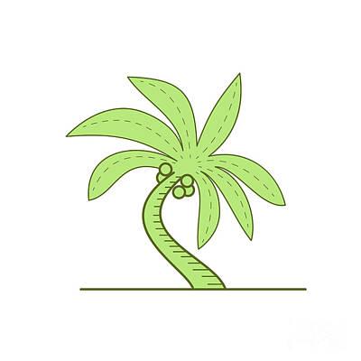 Flowering Plants Digital Art - Curved Palm Tree Mono Line by Aloysius Patrimonio