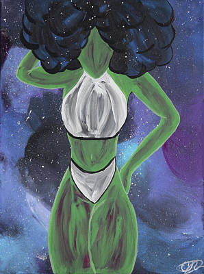 Natural Hair Painting - Curves Out Of This World by Cyrionna The Cyerial Artist