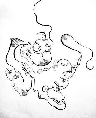 Curving Faces Art Print by Kate Dingwall