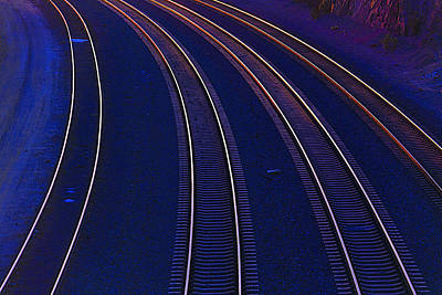 Last Light Photograph - Curving Railroad Tracks by Garry Gay