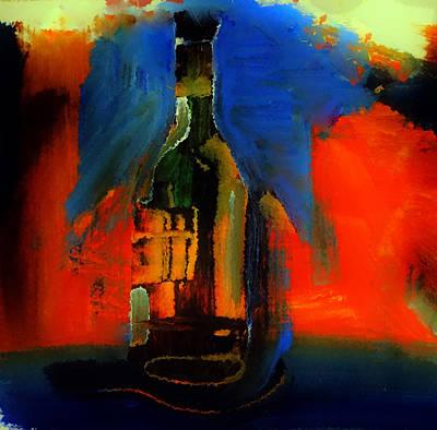 Curvy Wine Bottle Art Print by Lisa Kaiser