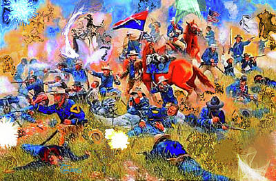 Unrest Digital Art - Custer's Last Stand by Charles Papaccio