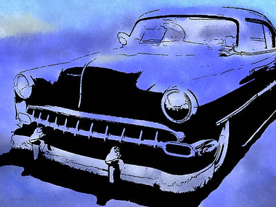 Digital Art - Custom 1954 Chevy Blue by David King