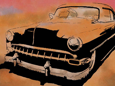 Digital Art - Custom 1954 Chevy Orange by David King