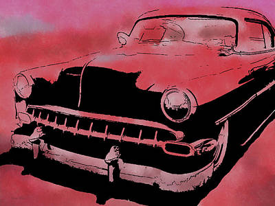 Digital Art - Custom 1954 Chevy Red by David King