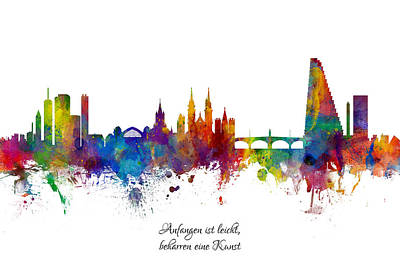 Switzerland Digital Art - Custom Artwork Basel Switzerland Skyline by Michael Tompsett
