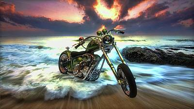 Digital Art - Custom Chopper At Sunrise by Louis Ferreira