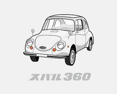 Antique Cars Digital Art - Custom Color Subaru 360 by Ed Jackson