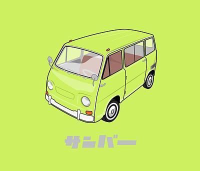 Hippie Van Digital Art - Custom Color Subaru Sambar Van by Ed Jackson